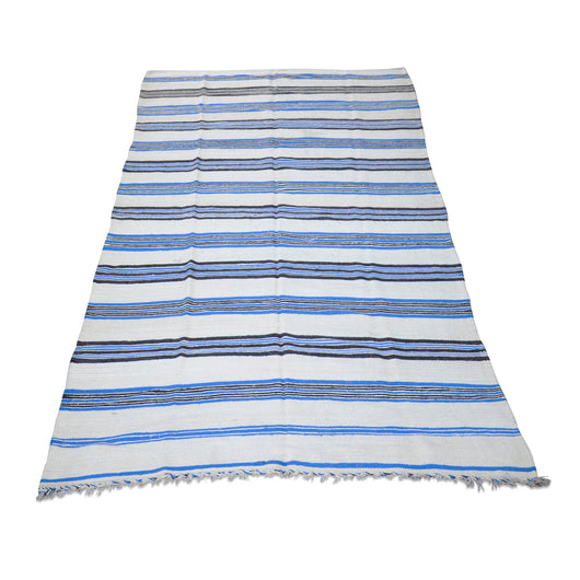 Blue, Black And Cream Stripe Kilim Rug