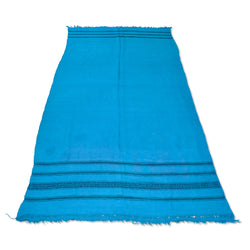 Turquoise And Black Stripe Kilim Rug