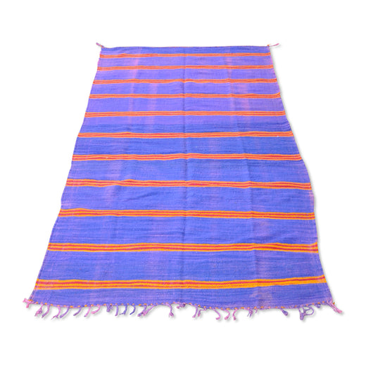 Purple And Red Striped Kilim Rug