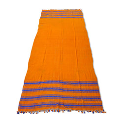 Orange And Blue Striped Kilim Rug