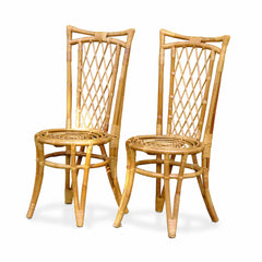 Pair of Vintage Rattan Dining Chairs