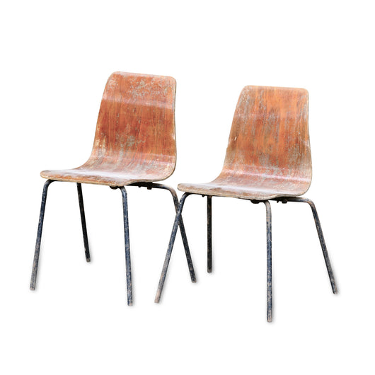 Pierre Guaric Wood and Iron Chairs