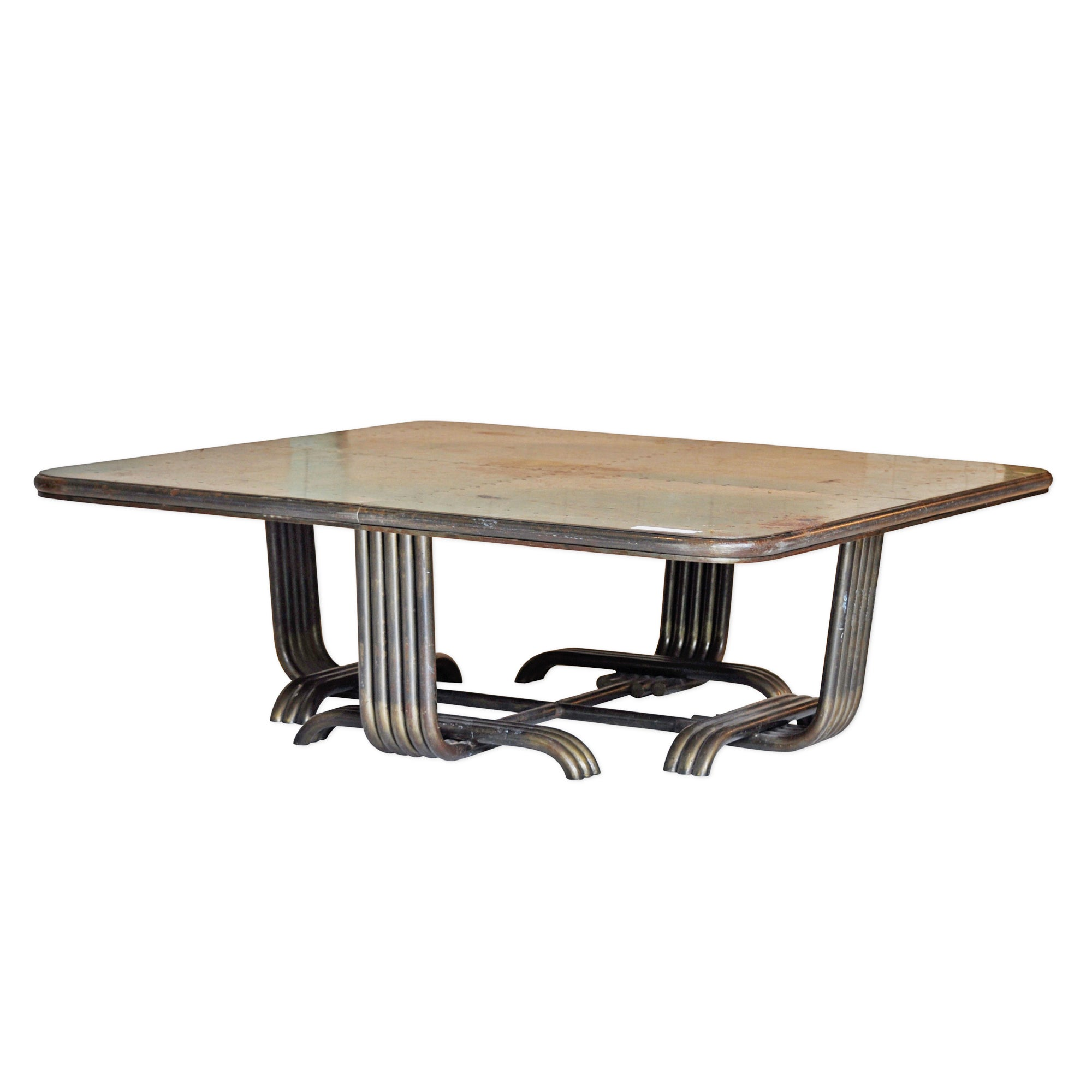 Square Metal Coffee Table with Riveted Top