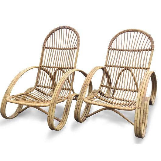 Pair of Rattan Curved Arm Chairs