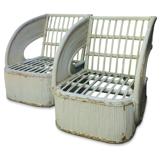 Pair of French Curved Arm Wicker Chairs