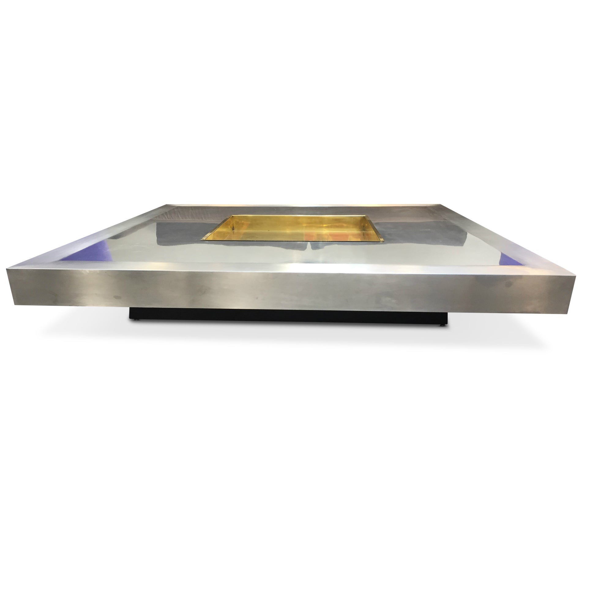 French Steel Coffee Table with Brass Tray Insert