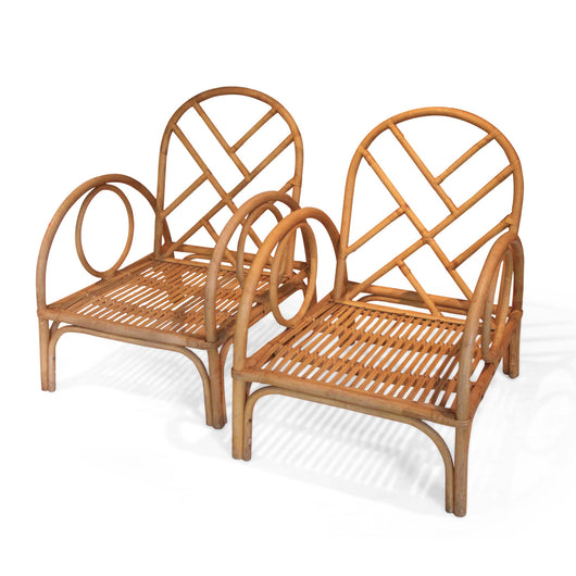 Pair Of Vintage Bamboo Arm Chairs