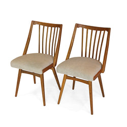 Pair of Upholstered, Slatted Dining Chairs