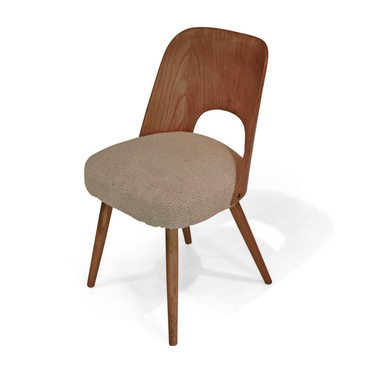 Upholstered Dining Chair with Wood Back