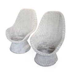 Pair of White, Vintage Wicker Chairs