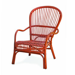 Pair of Orange Rattan Chairs