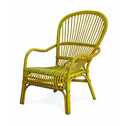 Pair of Yellow Rattan Chairs