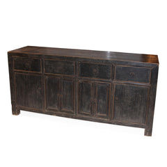 6 Door, 4 Drawer Black Cabinet