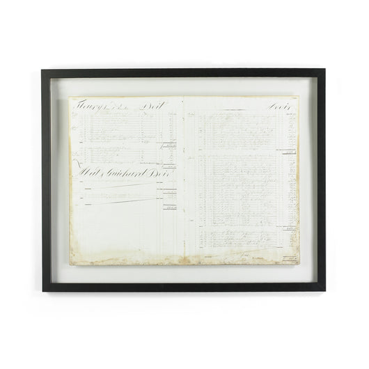 Framed 19th C. Hotel Log