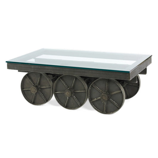 Metal Table On Wheels With Glass