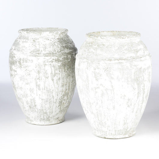 Pair Of White Urns