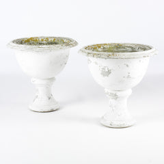 Pair Of White Garden Urns