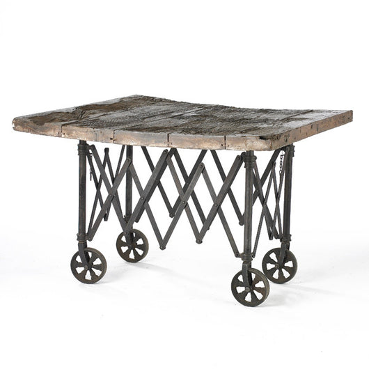 Wood And Iron Table On Wheels