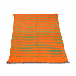 Orange And Green Striped Kilim Rug