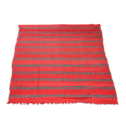 Red And Green Striped Kilim Rug