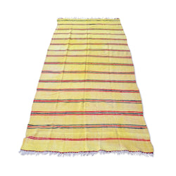 Yellow And Red Striped Kilim Rug