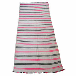 Pink And Black Striped Kilim Rug