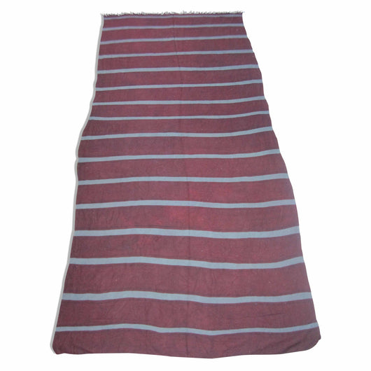Chocolate And Grey Striped Kilim Rug