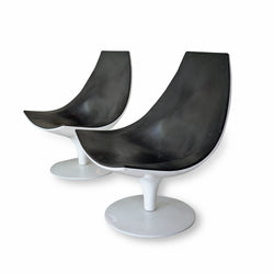 Pair of Black and White Swivel Chairs