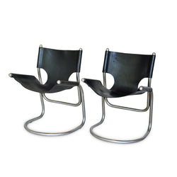 Pair of Leather Scoop Chairs