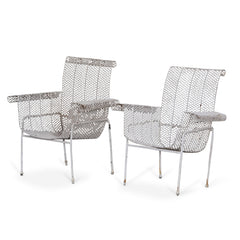 Pair Of White Iron Garden Chairs