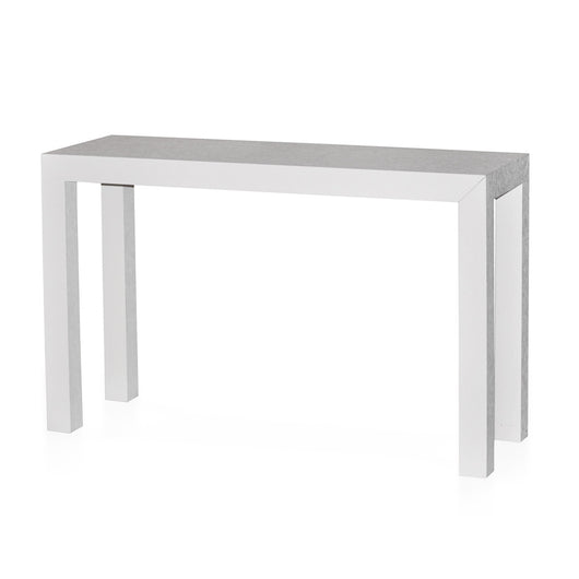 White Grasscloth Parsons Table