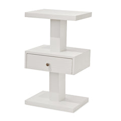 White Side Table With Drawer