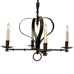 4 Light Iron Heart Chandelier