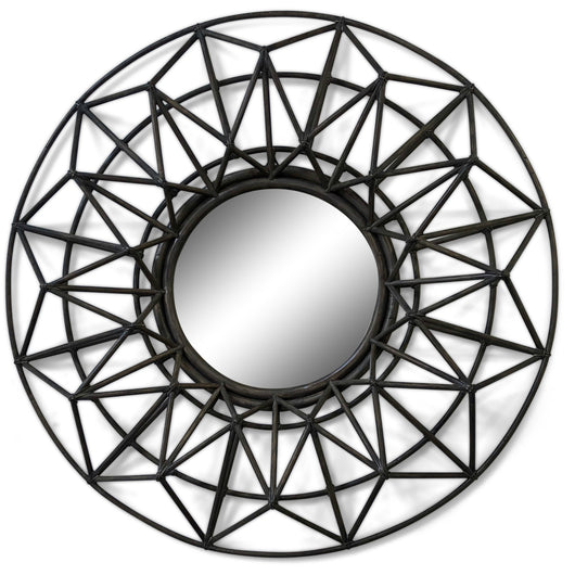 Rattan Mirror Joined in Leather