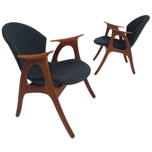 Sculptural Mid-Century Danish Lounge Chairs