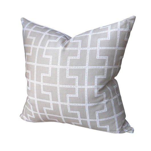 Tan Grid Dot Pillow