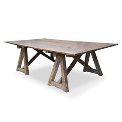 Large Sawhorse Dining Table With Painter's Base, 19th C.