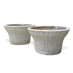 Pair Of White Concrete Planters