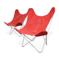 Pair Of Butterfly Chairs With Orange Cover