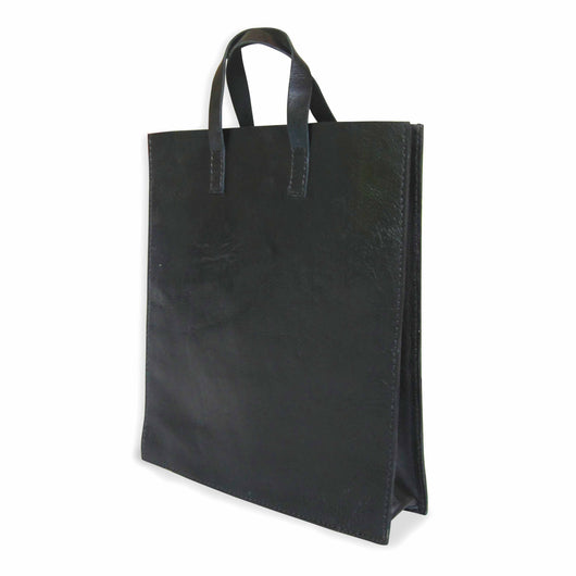 Classic Black Leather Tote