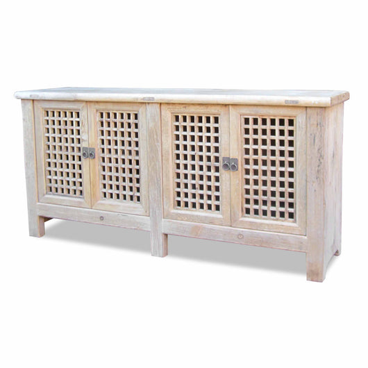 Light Wood Double Grid Cabinet
