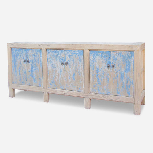 Six Door Painted Blue Cabinet