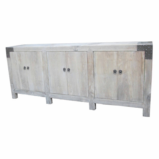 Light Wood Six Door Cabinet With Metal Detail