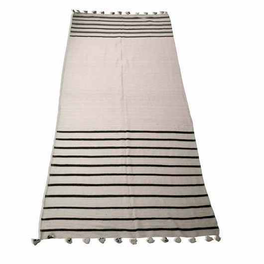 Beige And Brown Striped Kilim Rug