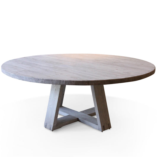 Round Light Elm Plank Table