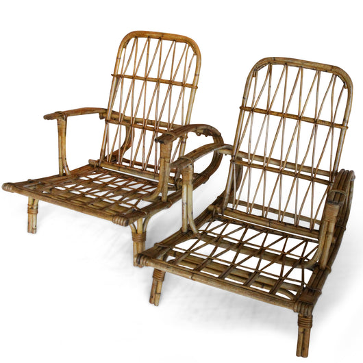 Pair Of 1930'S Reclining Rattan Chairs