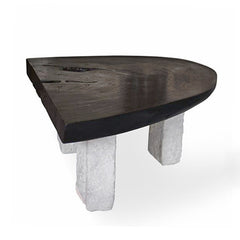 Black Suar Coffee Table With Stone Legs
