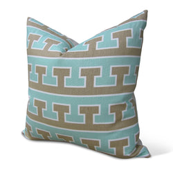 Aqua And Tan Greek T Pillow