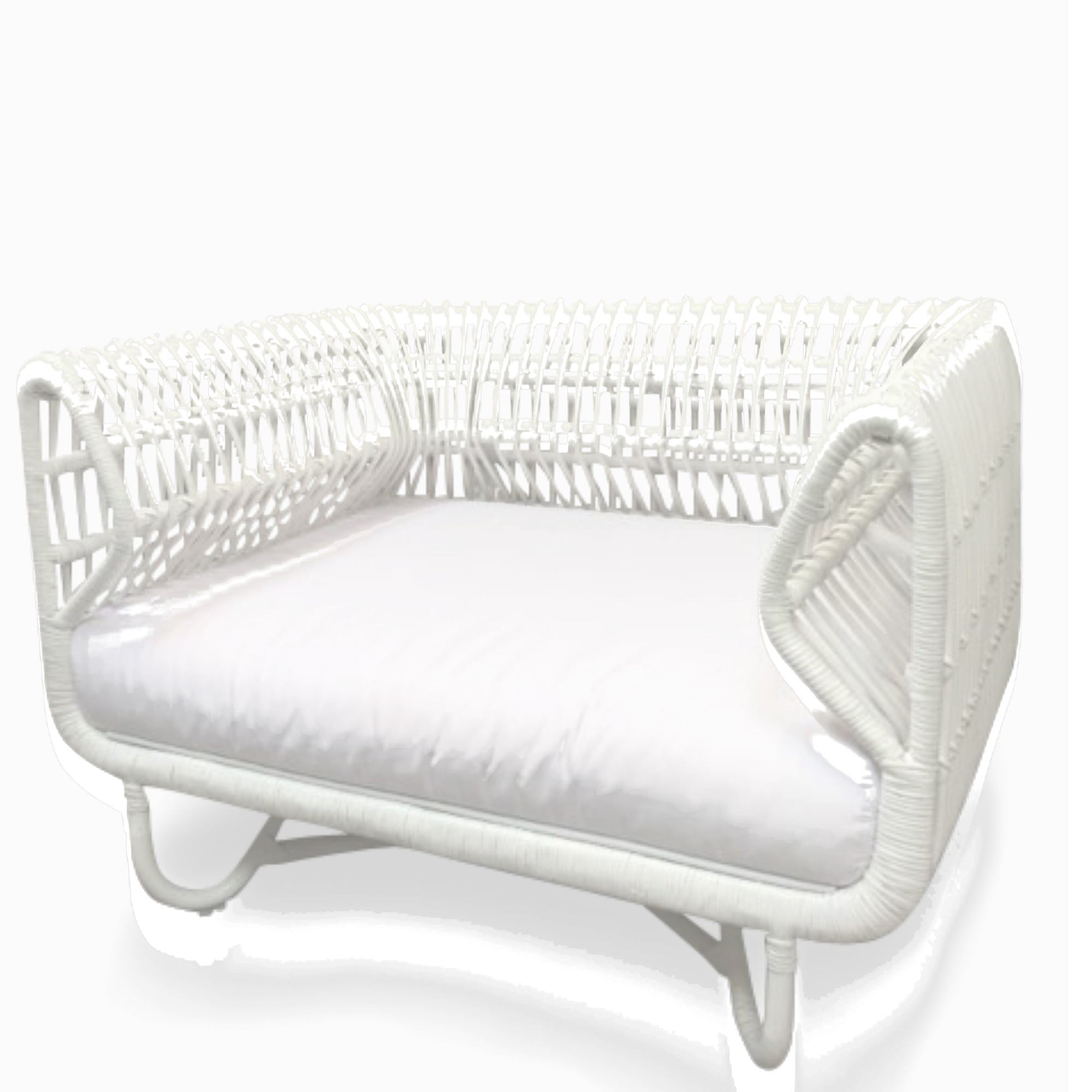 Pair of White Loop Lounge Chairs