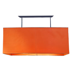 Orange Rectangle Iron And Linen Light